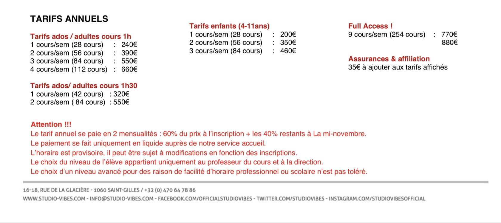 Studio Vibes timetable horaire - Prix