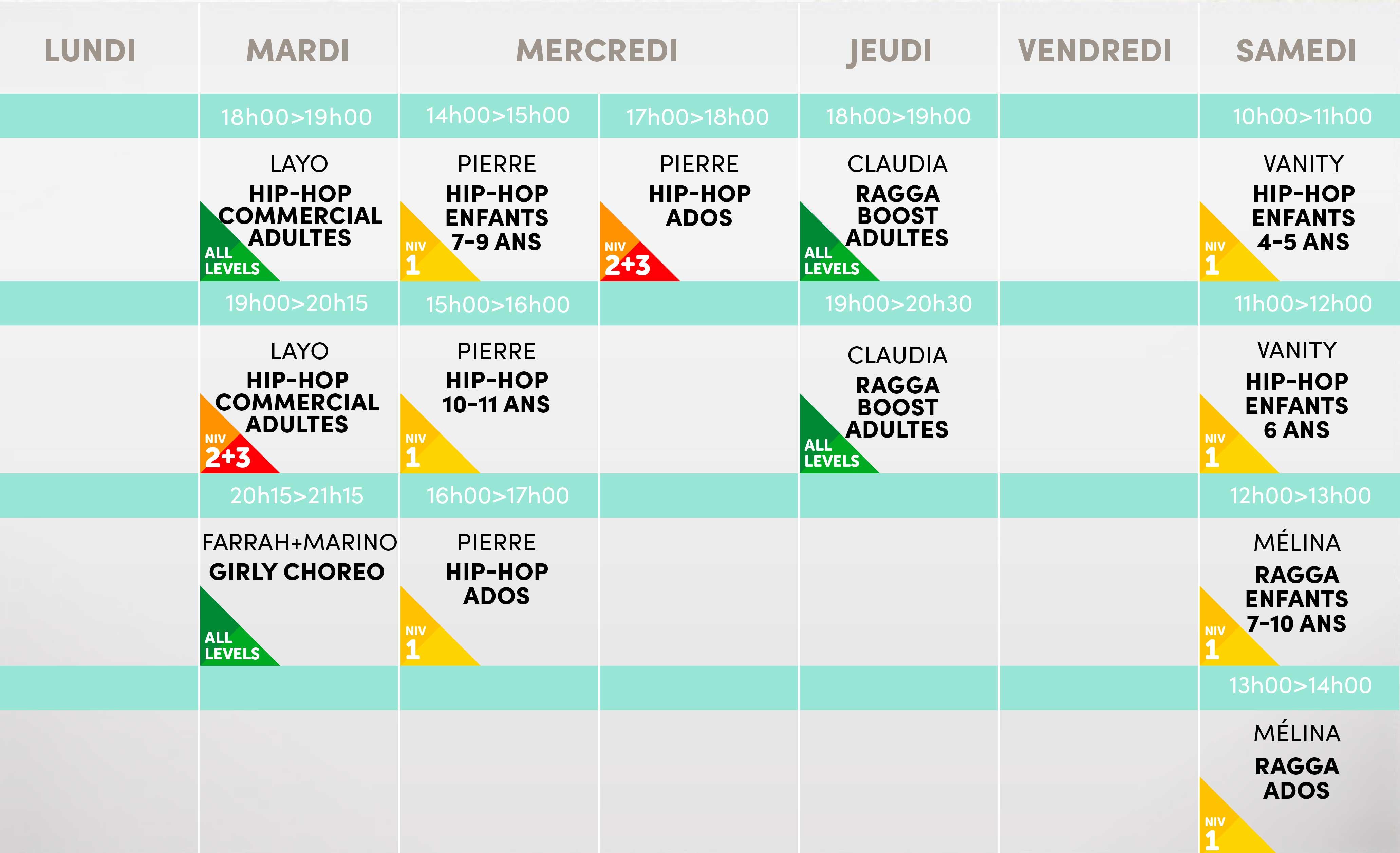 Studio Vibes timetable horaire - Salle 2 - Disponible mi-août