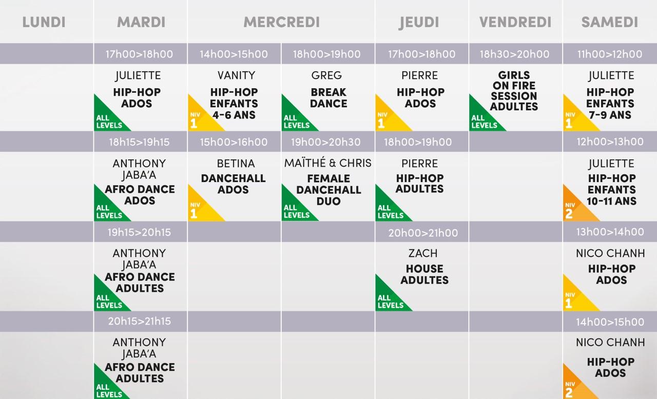 Studio Vibes timetable horaire - Salle 1 - Disponible mi-août